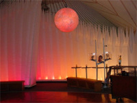 deneen mcarthur - Organza sculpted cover for Orb. Cirque Du Soleil VIP Tent, Calgary 2007