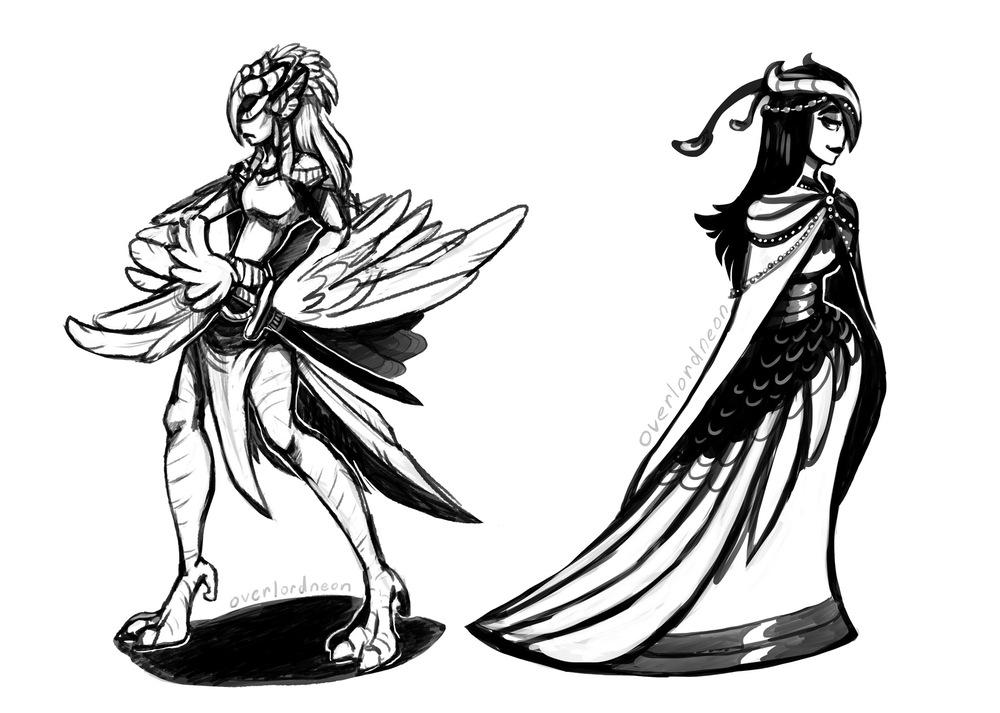 The Art of OverlordNeon - Harpy Queen and Siren Queen