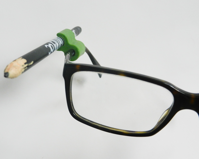 Atticus Anderson Portfolio - Medium Green Grip Clip on Glasses with Pencil