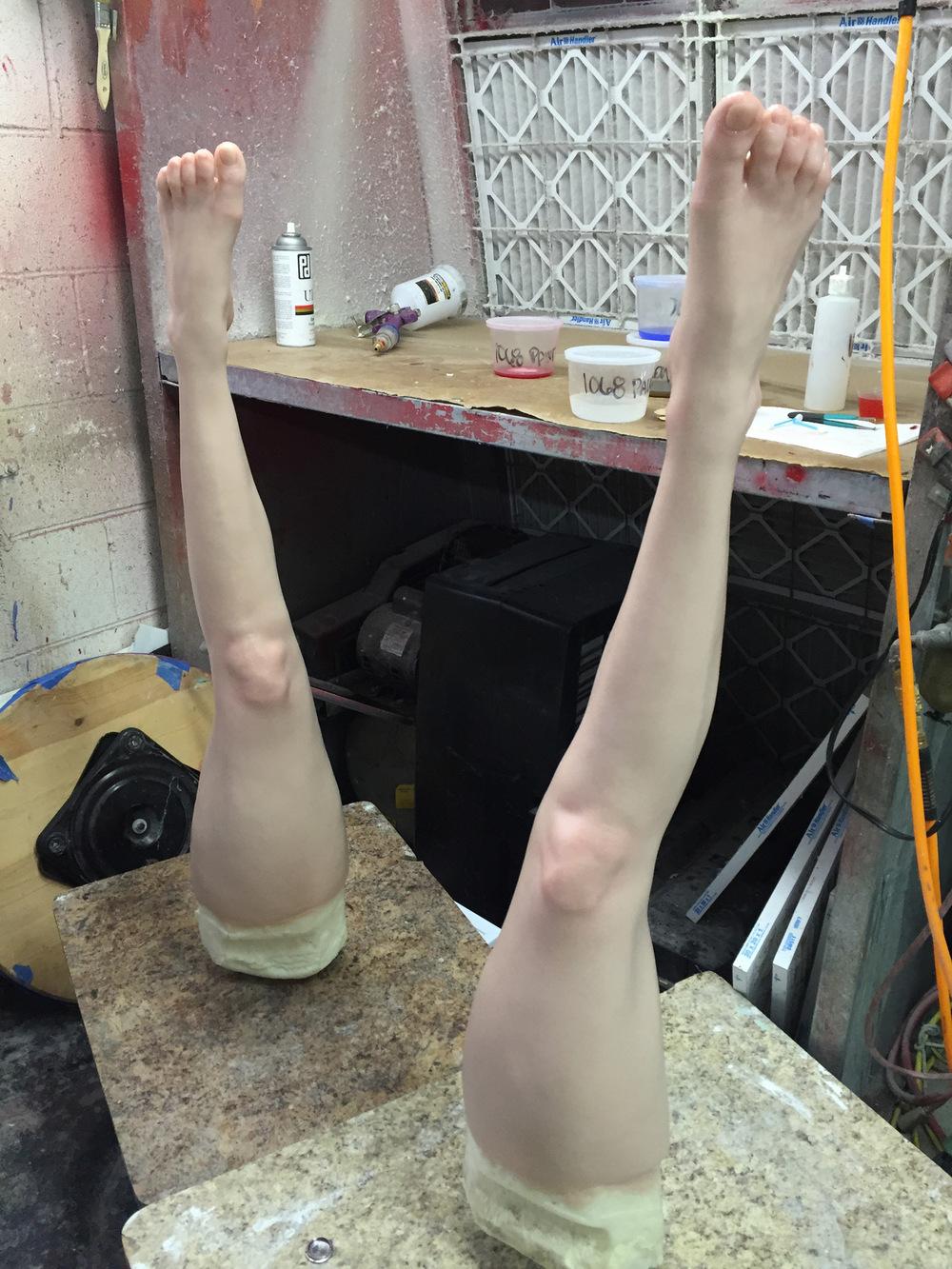 Atticus Anderson Portfolio - Life-casts of Lady Gagas legs. I conducted life cast of Lady Gagas legs on set with Brad Palmer and Maiko Chiba.