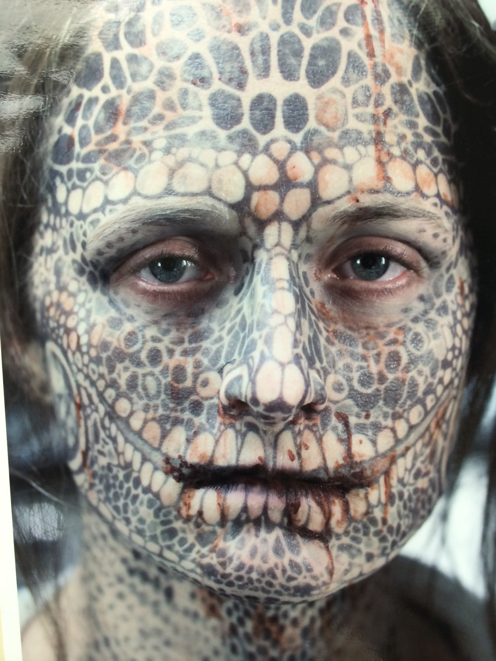 Atticus Anderson Portfolio - Production shot of Penny Face Tattoos for American Horror Story: Freak Show