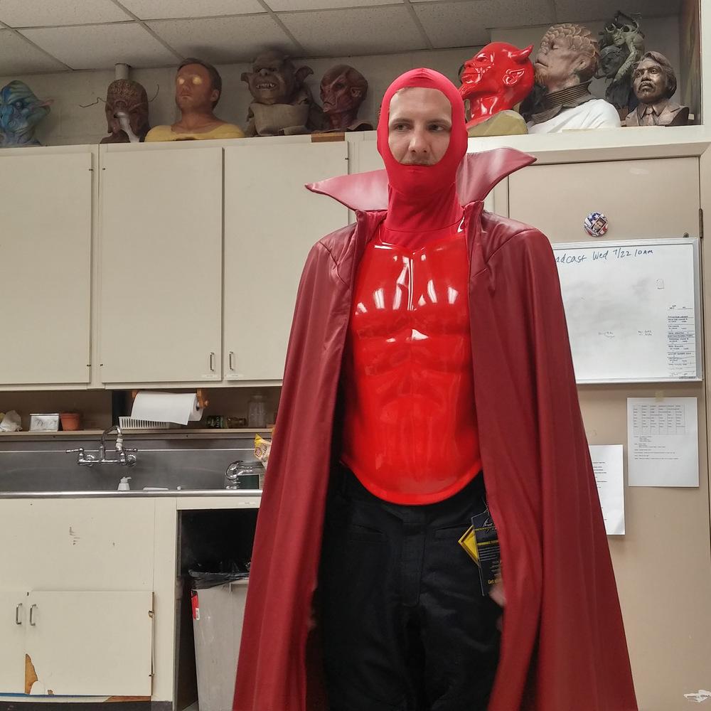 Atticus Anderson Portfolio - Me Testing Fit of Red Devil Chest / Costume