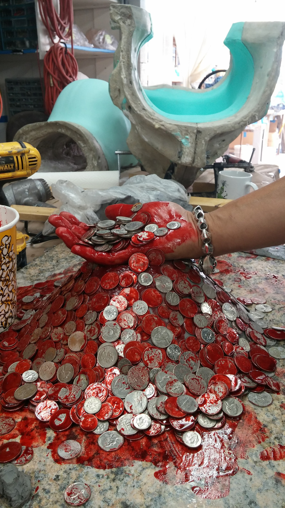 Atticus Anderson Portfolio - Molded and Cast Pile of Money gag for American Horror Story: Hotel