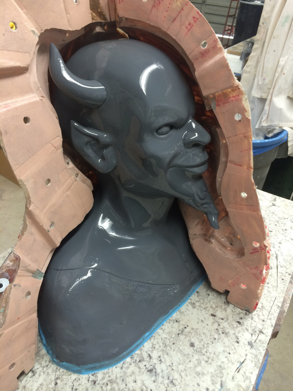 Atticus Anderson Portfolio - Fiberglass mold construction of Red Devil Mask for Scream Queens