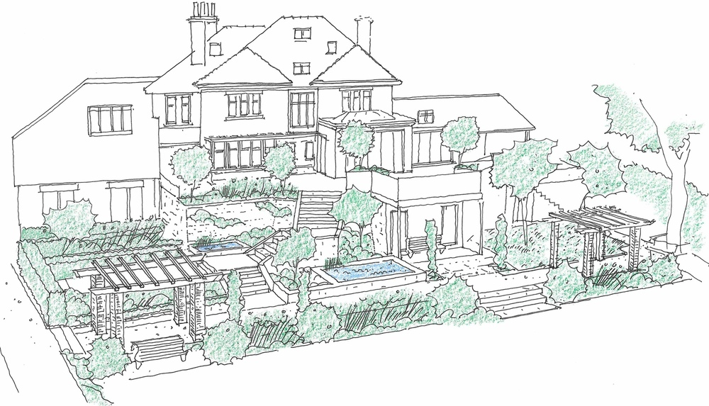 plants by design - design drawing for terraced garden