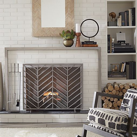 arh creative - Chevron Fireplace Screen & Pewter Fireplace Tools Client: Crate & Barrel Photo: Courtesy of Crate & Barrel