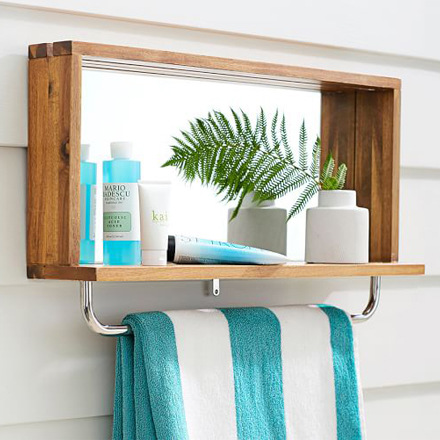 arh creative - Outdoor Shower Mirror with Shelf Client: Pottery Barn Photo: Courtesy of Pottery Barn