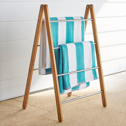 arh creative - Outdoor Shower Collapsible Towel Rack Client: Pottery Barn Photo: Courtesy of Pottery Barn