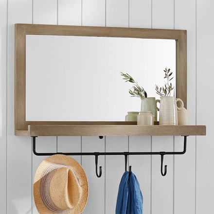 arh creative - Lucy Entryway Mirror with Hooks Client: Pottery Barn Photo: Courtesy of Pottery Barn