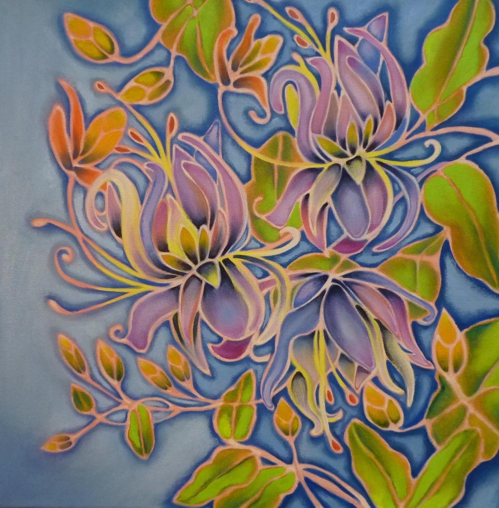 ida romiti - fioritura. olio su tela. 50x50