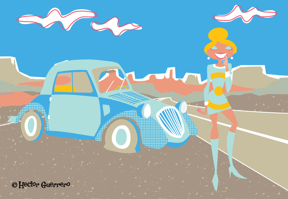 Flat tire - vector, illustration - apeles | ello