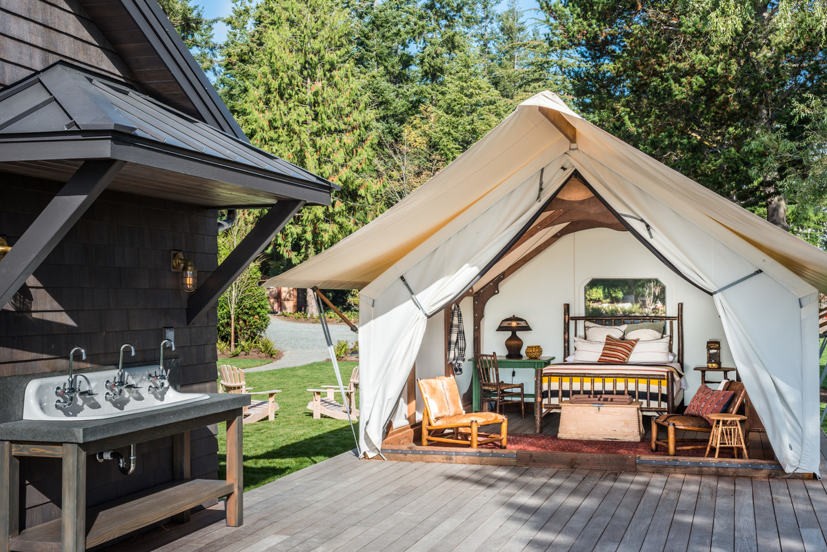 Holland Stephens Interiors - Custom designed glamping tent. While working with Tim Pfeiffer at Hoedemaker Pfeiffer.