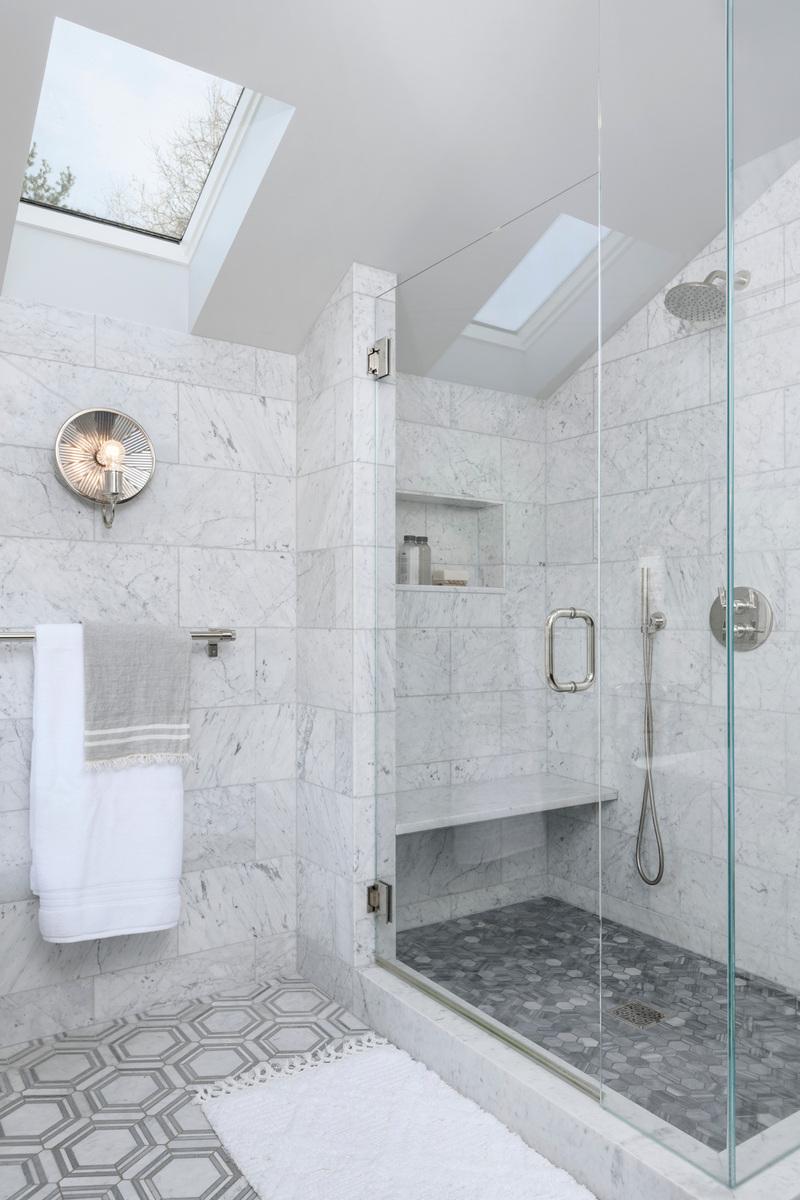 Holland Stephens Interiors - Master bath shower with Bardiglio grey marble floor.