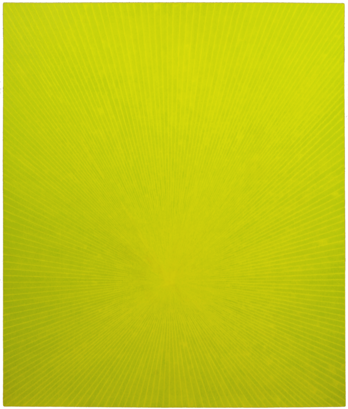 Janos Cseh - Pale Green on Yellow. acrylic on canvas. 72 x 64 in. 2014