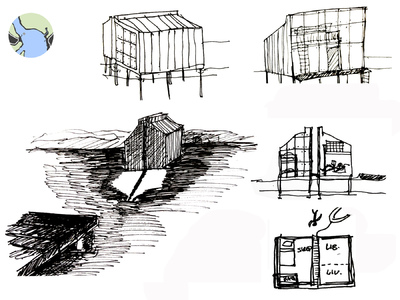 Margaret Molly McCormick Portfolio - Kamotica Water Cabin Concept Sketch, Chesapeake Bay, MD