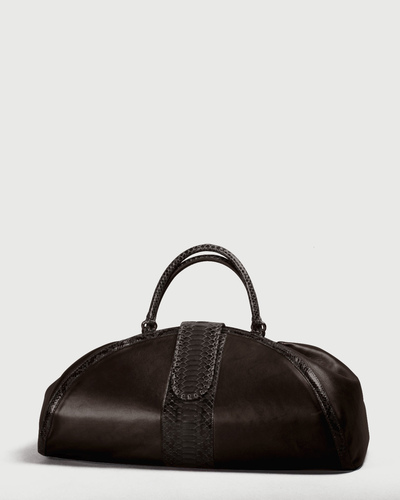 PALADINE - leather goods - CLEOPATRE L / Brown Python / Brown Lambskin