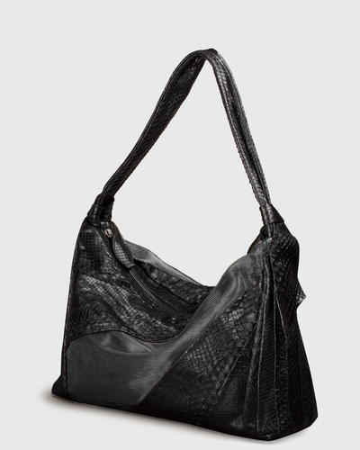PALADINE - leather goods - Black Python / Lin & grey Cuivre