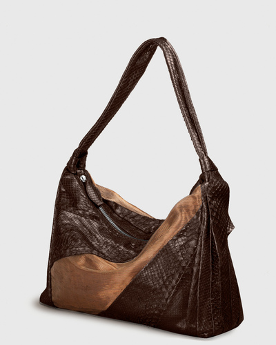 PALADINE - leather goods - Brown Python / Lin & Cuivre