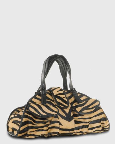 PALADINE - leather goods - CLEO L / Tan Zebra Pony Calfskin / Black Calfskin