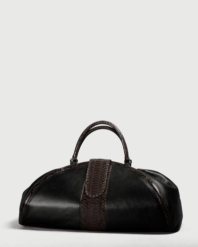 PALADINE - leather goods - CLEOPATRE L / Brown Python / Black Lambskin