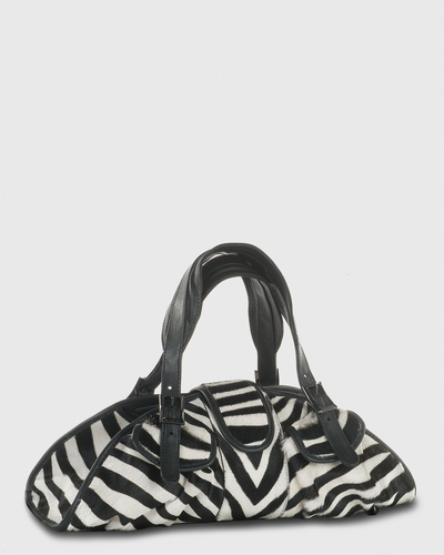 PALADINE - leather goods - CLEO M / Zebra Pony Calfskin / Black Calfskin