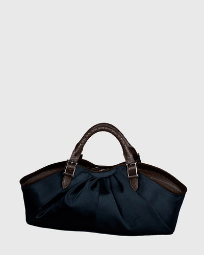 PALADINE - leather goods - Bleu marine Pony calfskin / Brown Python