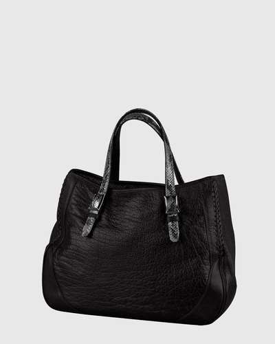 PALADINE - leather goods - Black Buffalo leather / Grey python