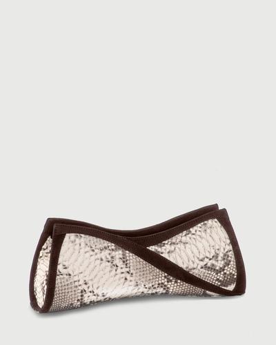 PALADINE - leather goods - Ecru pYthon / Brown nubuck