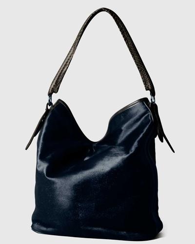 PALADINE - leather goods - Bleu marine Pony Calfskin / Black Cobra