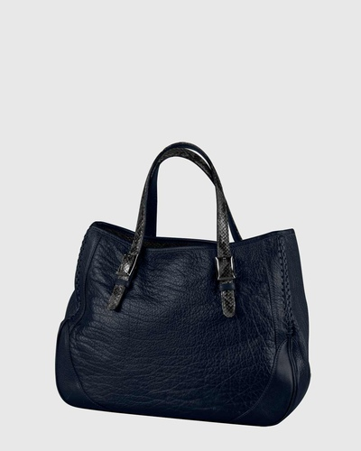 PALADINE - leather goods - Navy blue Buffalo leather / Grey python