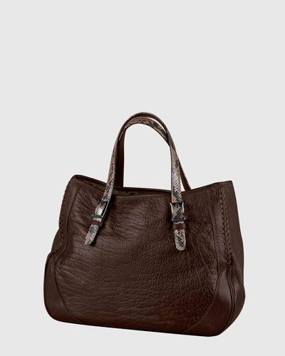 PALADINE - leather goods - Brown Buffalo leather / Tobacco python