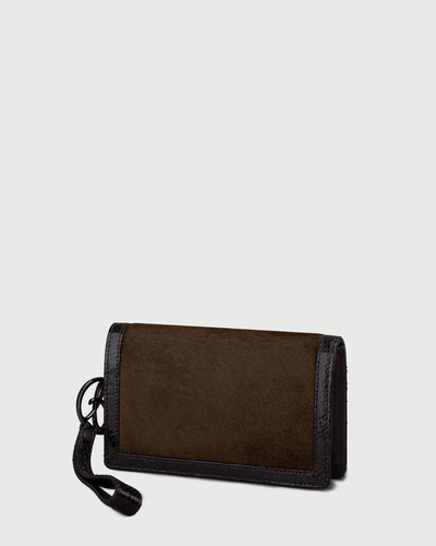 PALADINE - leather goods - Brown Pony calfskin / Black Python