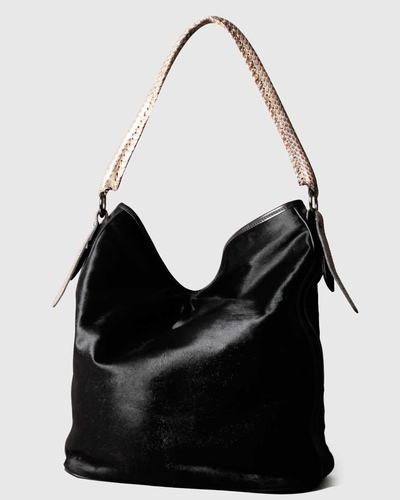 PALADINE - leather goods - Black Pony Calfskin / beige Cobra