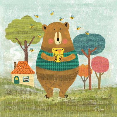 Tina Beans - Mr. Bear with his honey pot and bees